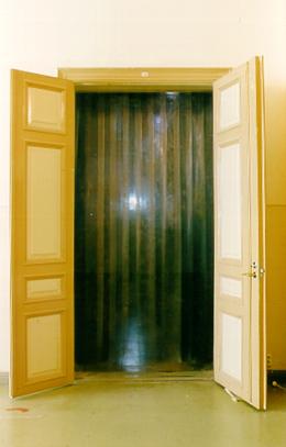 Entré, a plastic curtain.